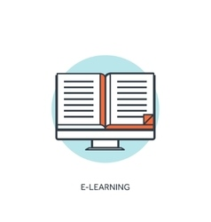 Flat lined e-learning background with computer and vector image