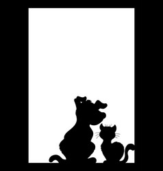 frame with cat and dog silhouette vector image