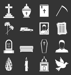 Funeral icons set grey vector