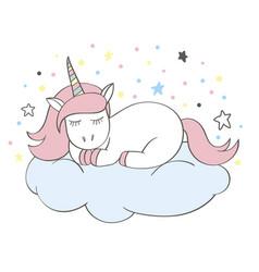 Funny cartoon unicorn character sleeping on cloud vector