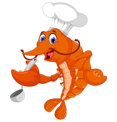 Funny chef shrimp cartoon cooking vector