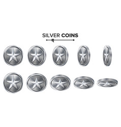 game 3d silver coin with star flip vector image