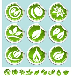 Green eco stickers vector