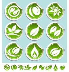 green eco stickers vector image vector image