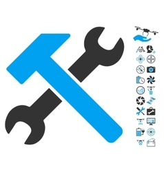 Hammer And Wrench Icon With Air Drone Tools Bonus vector