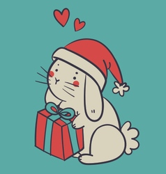 Hand Drawn Bunny Holding a Present vector image