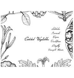 Hand drawn of podded vegetables frame on white bac vector