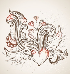 Hand-drawn sketch heart vector