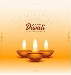 Happy diwali realistic diya festival celebration vector