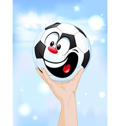 happy winner - soccer ball in hand lifting the vector image