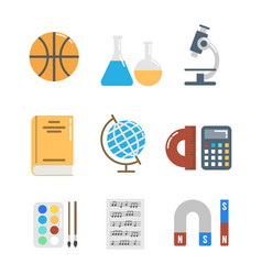 icons set for school and office work vector image