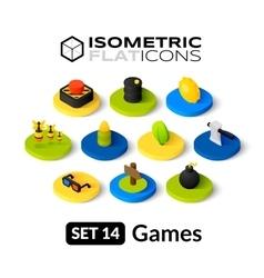 Isometric flat icons set 14 vector
