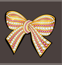 jewel brooch bow gold with precious stones vector image