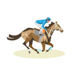 Jockey on white horse vector