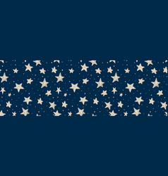 Kids pattern with doodle textured stars seamless vector