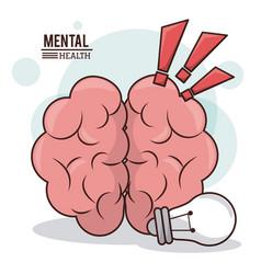 Mental health human brain idea exclamation mark vector
