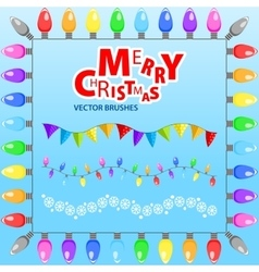 Merry Christmas Set of brushes vector image