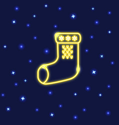 neon christmas sock icon in line style vector image