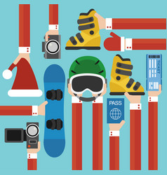 new year holiday with snowboard set design flat vector image