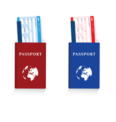 Passport in red and blue color with air ticket set vector