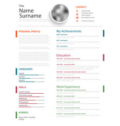 Professional personal resume cv with colored vector