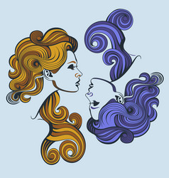 profile girls with curly hair vector image