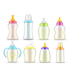 realistic bafeeding bottles with milk mockups vector image