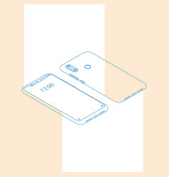 realistic flat modern two smart phone with color vector image