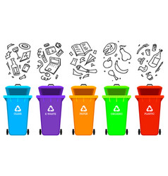 Recycling garbage elements bag or containers or vector
