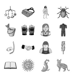 River lynx cat and other web icon in monochrome vector