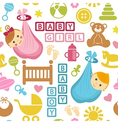 Seamless pattern with icons and babies in bag vector