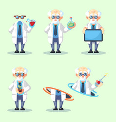 set of crazy old scientist is conducting a vector image