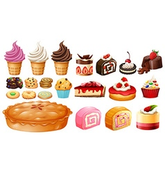 Set of different kinds of desserts vector image