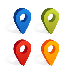 set of map pin icons with shadow isolated on vector image