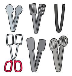 Set of tongs vector