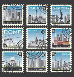 set stamps with different city and landmarks vector image