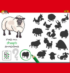 shadows game with sheep characters vector image