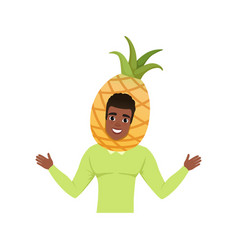 smiling man character in pineapple fruit headwear vector image