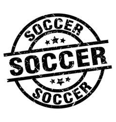 Soccer round grunge black stamp vector