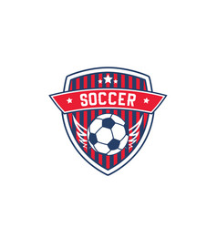 Soccer team badge with football sport ball vector