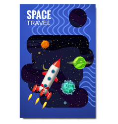 space rocket space travel exploration of the vector image
