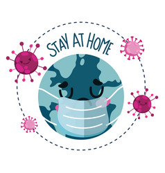 Stay at home sad world with medical mask covid 19 vector