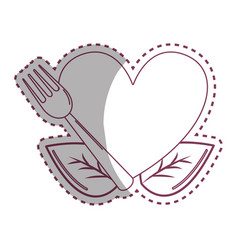 Sticker heart with ribbon fork and leaves vector