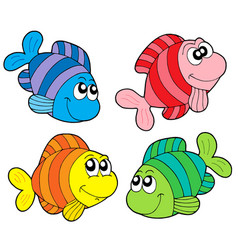 striped fishes collection vector image