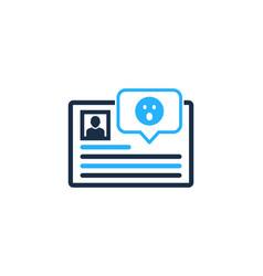 surprised social network logo icon design vector image