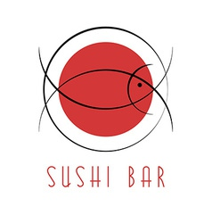 Sushi design logo abstract fish tuna japanese vector