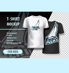 T-shirt mockup with yacht phrase in two colors vector