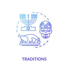 Tradition blue gradient concept icon vector
