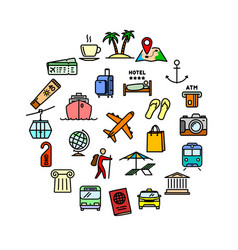 travel related set - 25 color outline icons vector image
