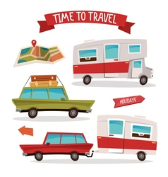 Travel Transportation Set Travel Camper Family Van vector